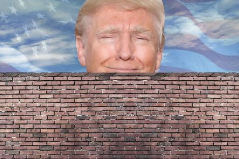 Composite photo shows smug-looking Trump peering over a brick wall
