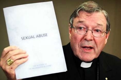 Cardinal Pell with paper titled Sexual Abuse
