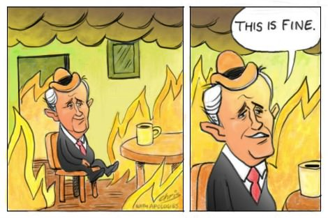 Malcolm Turnbull sits in a burning house and says 'This is fine'. Cartoon by Chris Johnston