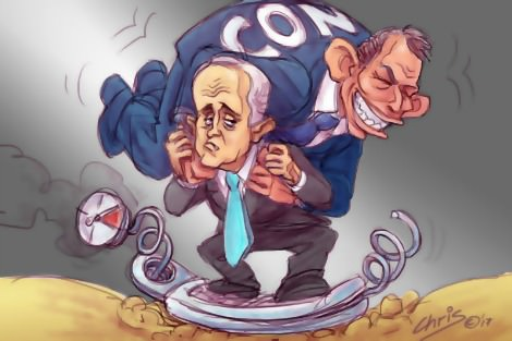 Malcolm Turnbull weighed down by 'conservative' Tony Abbott. Cartoon by Chris Johnston