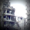 Bombed buildings in Homs