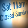 Sign reads 'closed Sunday'
