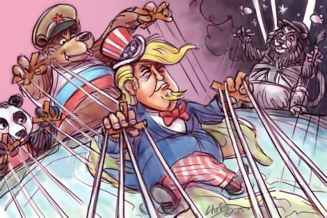 US/Trump depicted as both puppet and puppeteer. Cartoon by Chris Johnston
