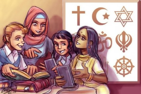 Children of different faiths sharing. Illustration by Chris Johnston