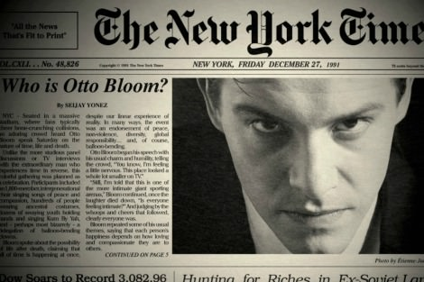 Xavier Samuel, New York Times front page story from The Death and Life of Otto Bloom