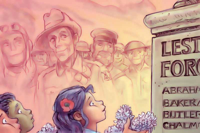 Spirits of soldiers watch as children pay tribute to their memory. Cartoon by Chris Johnston