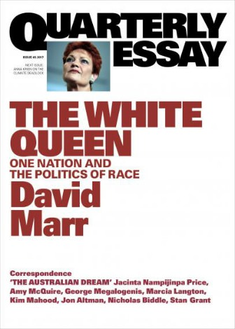 Pauline Hanson on the cover of David Marr's Quarterly Essay The White Queen
