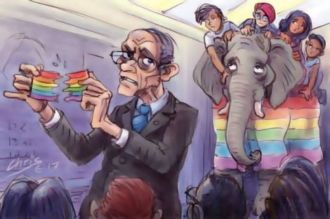 Catholic teacher tears up rainbow flag while rainbow coloured elephant carrying young people watches on sadly. Cartoon by Chris Johnston