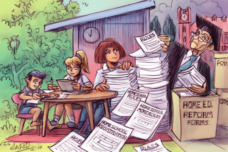 Homeschooling parent is overwhelmed by government paperwork. Cartoon by Chris Johnston