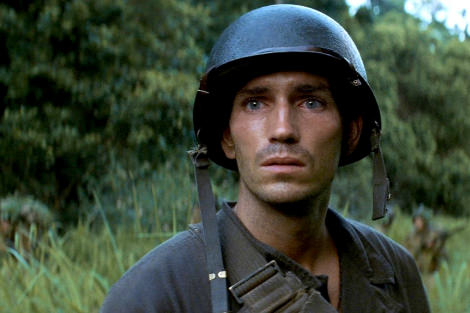 Jim Caviezel as Witt in Terrence Malick's The Thin Red Line