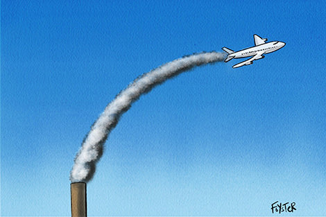 Aeroplane flies out of a coal power station chimney. Cartoon by Greg Foyster