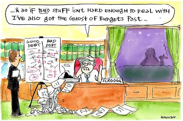 Scott Morrison is haunted by Joe Hockey, the Ghost of Budgets Past, as he tries to write the 2017 Budget. Cartoon by Fiona Katauskas