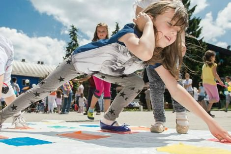 Little girl playing Twister