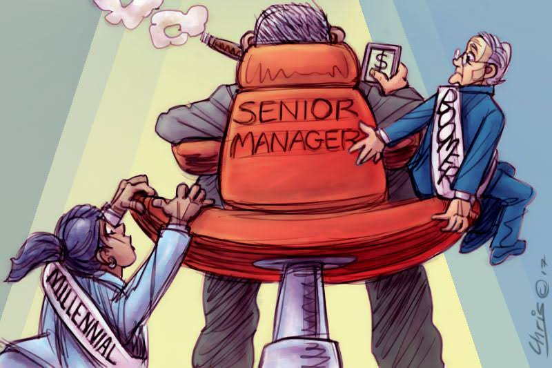 Millennial and Boomer badger money-focused Senior Manager. Cartoon by Chris Johnston