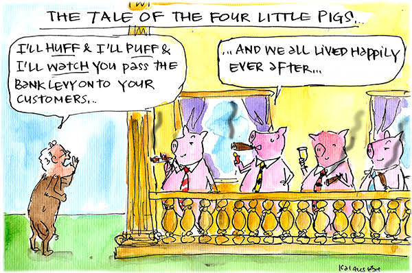 Scott Morrison in a wolf suit threatens to huff and puff at 'pig' banks. Cartoon by Fiona Katauskas