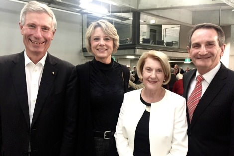 Kristina Keneally, Marilyn Hatton and Francis Sullivan presented at the public forum for Concerned Catholics of Canberra-Goulburn, and are pictured here with John Warhurst (far left).