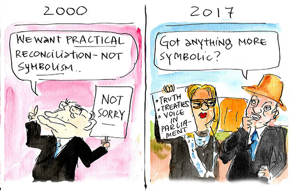2010, we need practical, not symbolic reconciliation. 2017, can we think of something more symbolic than the Ulurua Statement? Cartoon by Fiona Katauskas