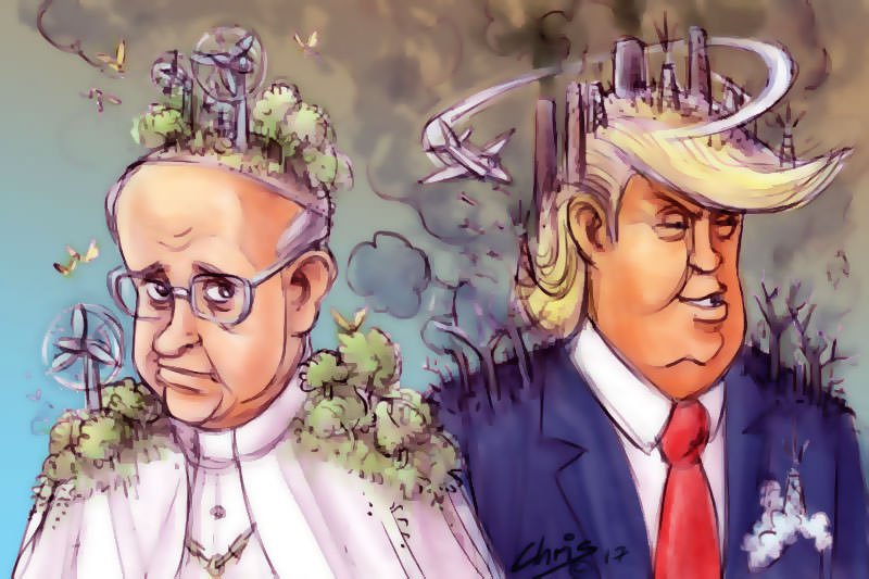 Pope Francis sprouts plants and trees, Trump sprouts smoking chimneys. Cartoon by Chris Johnston
