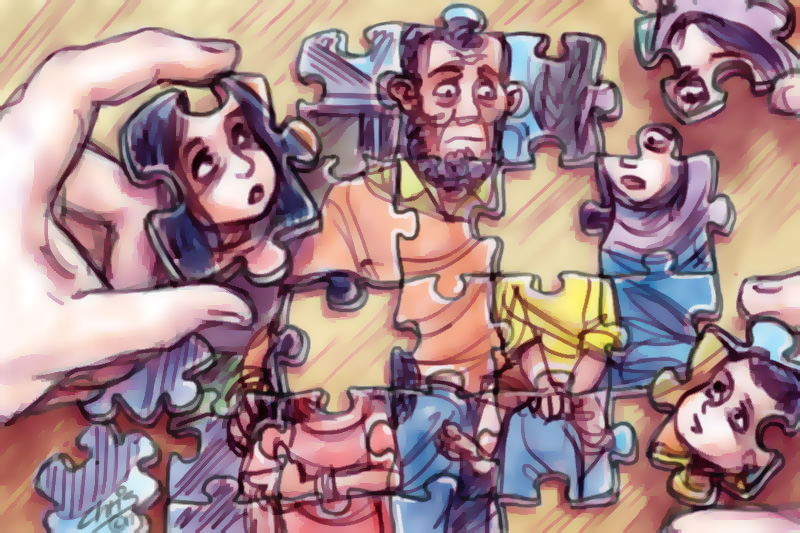 Refugee family as an incomplete jigsaw puzzle. Cartoon by Chris Johnston