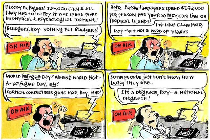 Talkback radio host and caller rail against World Refugee Day. Cartoon by Fiona Katauskas