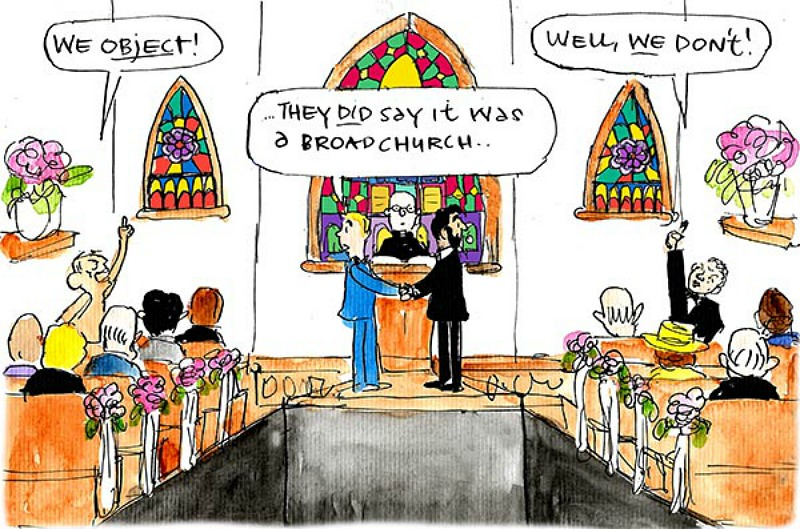 Liberal Party is divided during a same sex wedding. Cartoon by Fiona Katauskas