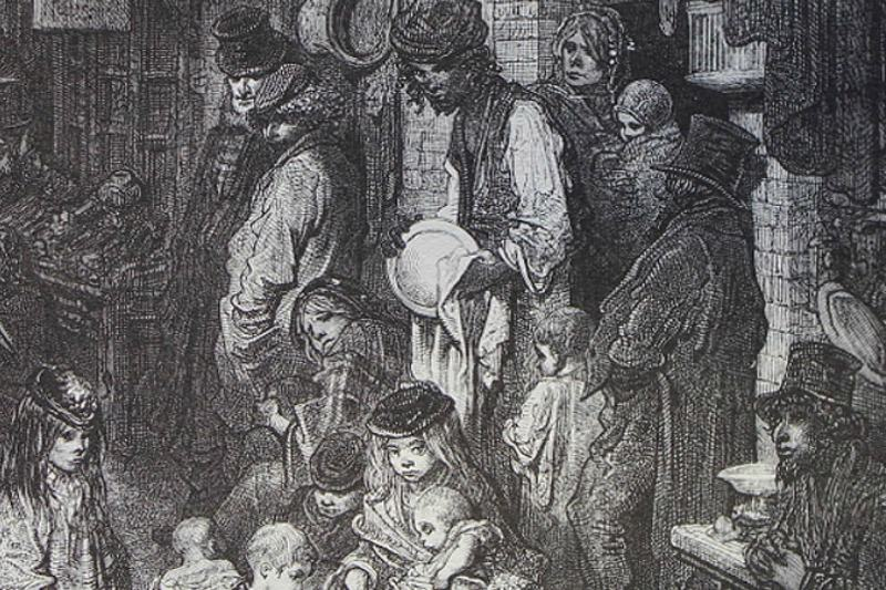 Etching of the poor in Dickensian England
