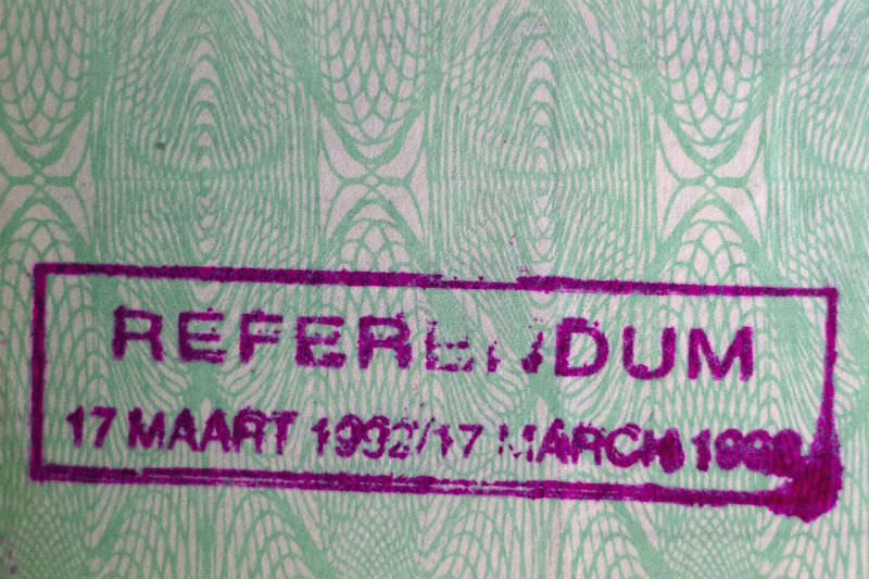 Stamp in identity document of a white South African recording their participation in the 1992 apartheid referendum
