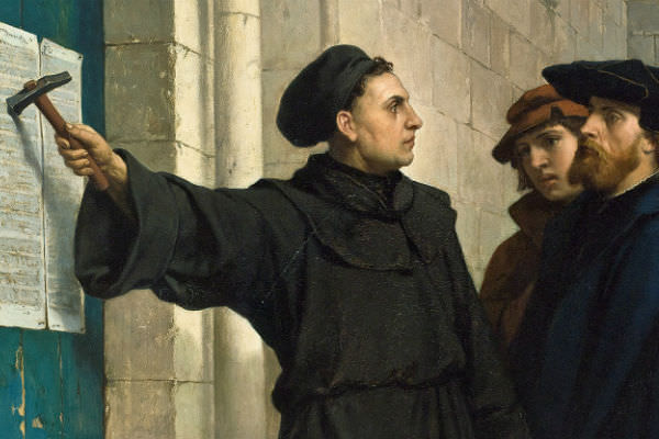 Luther posting his 95 theses in 1517