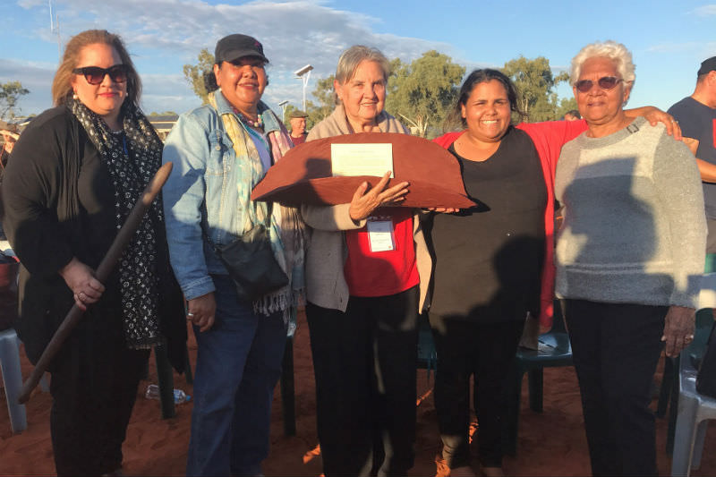 Left to right: Megan Davis, June Oscar, Pat Anderson, Sally Scales, Irene Davey. Pat is holding the Uluru statement with coolamon given to her by the Anangu community. Australian Human Rights Commission