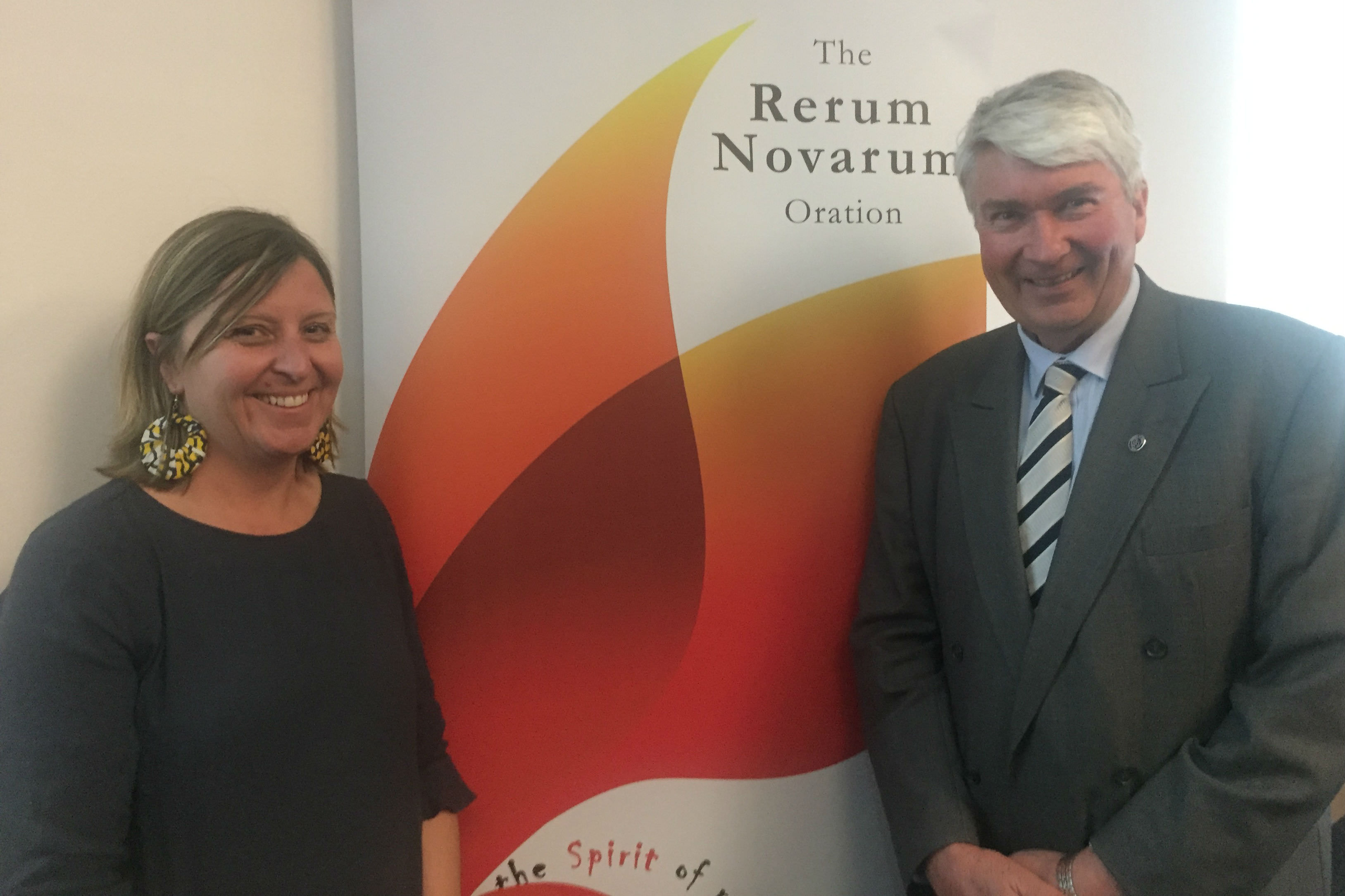 Frank Brennan (right) with respondent Brigid Henley from Jesuit Social Services