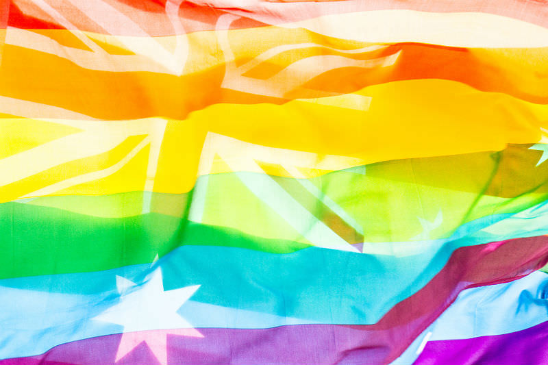Australia flag with rainbow colours