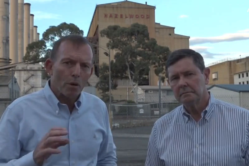 Tony Abbott and Kevin Andrews at Hazelwood plant