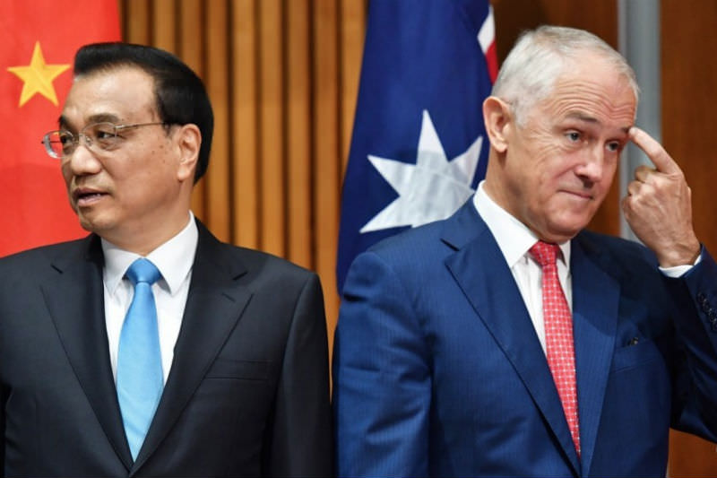 Chinese Premier Li Keqiang (left) and Australian Prime Minister Malcolm Turnbull meet in Canberra during Li's five-day visit last month to boost economic ties between the two countries. Photo: EPA