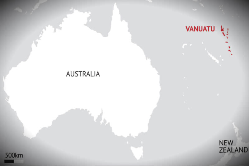 Map of Australia and Vanuatu