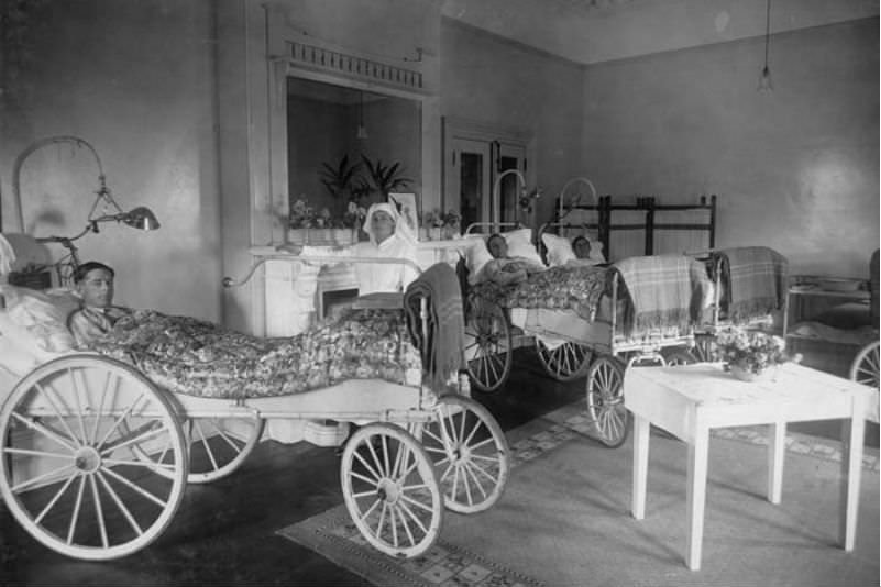 A ward for the totally and permanently incapacitated in an Anzac Hostel, 1919 (National Archives of Australia)
