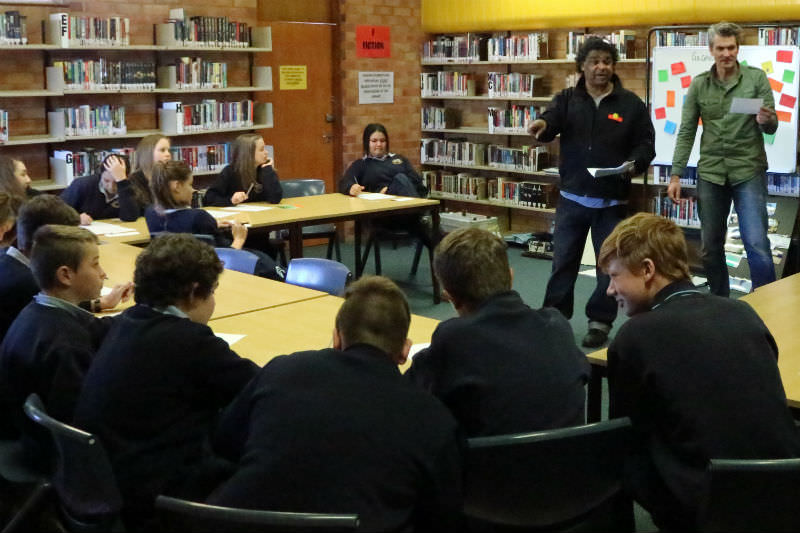 Sydney Story Factory creative writing workshop at Gilgandra High with storytellers John Blair and Richard Short (Sheila Ngoc Pham)