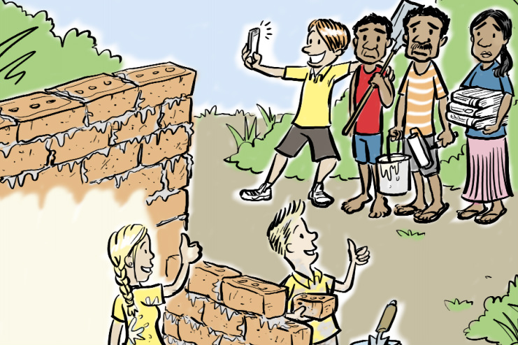 Cartoon by James Foley, from the cover of Caritas Australia's 'Just Visiting' resource.