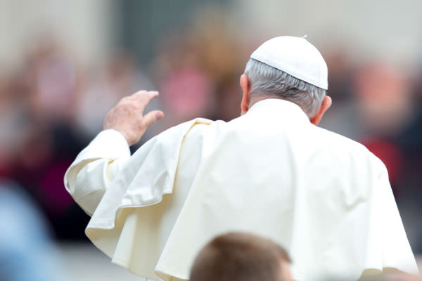 Pope Francis at the general audience in St Peter's Square on 23 May 2018 (Daniel Ibáñez/CNA)