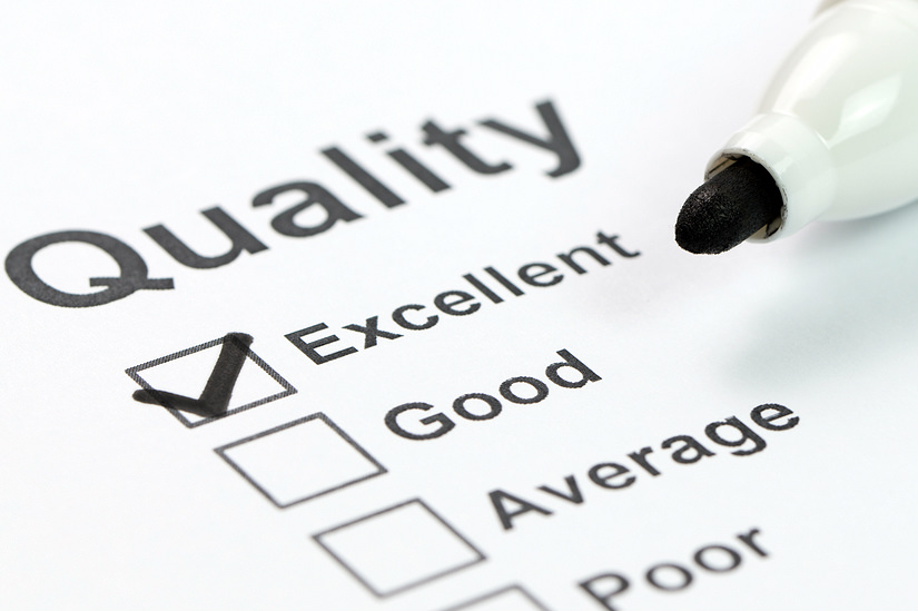 Quality checklist ranging from Excellent down