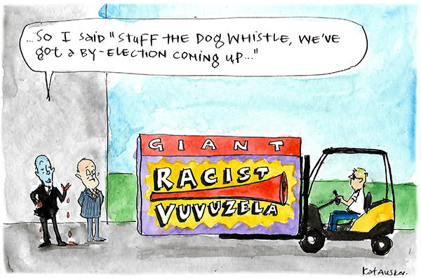 Peter Dutton welcomes the arrival of a 'racist vuvuzela' while declaring that it is more appropriate for the campaign trail than a dog-whistle. Cartoon by Fiona Katauskas