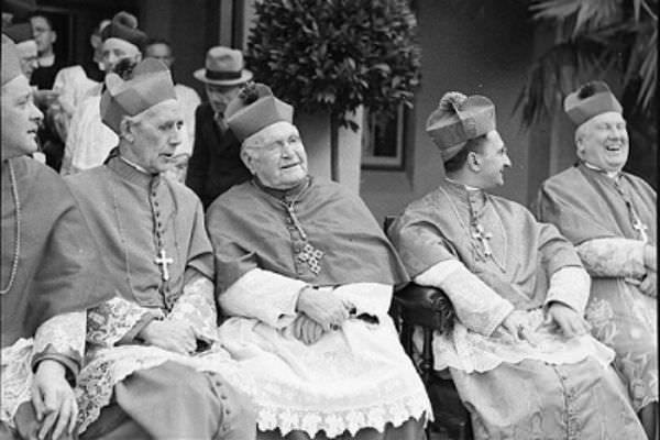A black and white flashback to the last Plenary Council in 1937 (Archbishop Mannix, Archbishop Kelly, Apostolic Delegate, Panico).