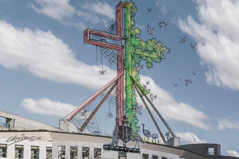 Parliament House has a cross on its roof, half of which is rusted and cobwebbed, the other half lush with green growth. Cartoon by Chris Johnston