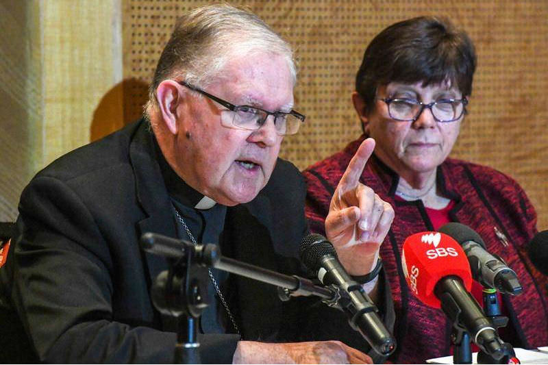 Archbishop Mark Coleridge and Sister Monica Cavanagh rsj, president of Catholic Religious Australia during the press conference