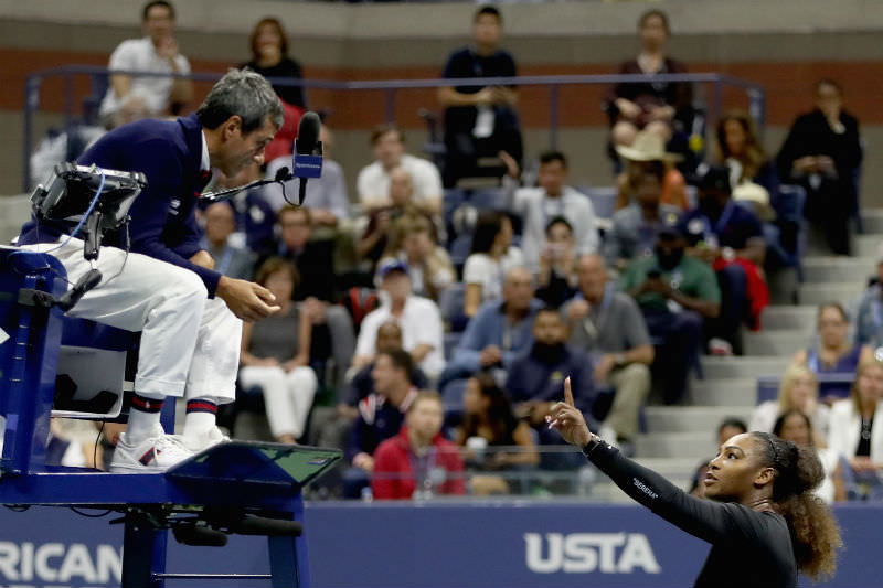 Serena Williams reacts to umpire Carlos Ramos after her defeat in the Women's Singles finals match to Naomi Osaka at the 2018 US Open. (Photo by Matthew Stockman/Getty Images)