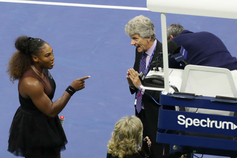 Serena Williams argues with referee Brian Earley during her Women's Singles finals match against Naomi Osaka on day 13 of the 2018 US Open at the USTA Billie Jean King National Tennis Center on 8 September 2018. (Jaime Lawson/Getty Images for USTA)