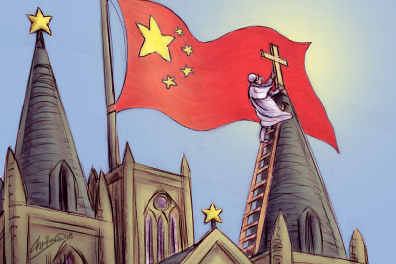 Chris Johnston cartoon has Pope Francis up a ladder erecting a small cross beneath a large Chinese flag