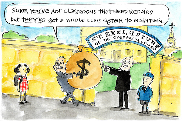 Scott Morrison gives a large back of money to a school called St Exclusivus of the Overpriveleged. He tells a young public school girl 'Sure, you've got classrooms that need repairs but they've got a whole class system they need to maintain.' Cartoon by Fiona Katauskas