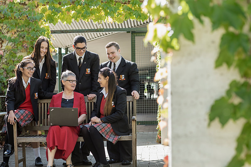 Students and teacher at Loyola Senior High School, Mount Druitt
