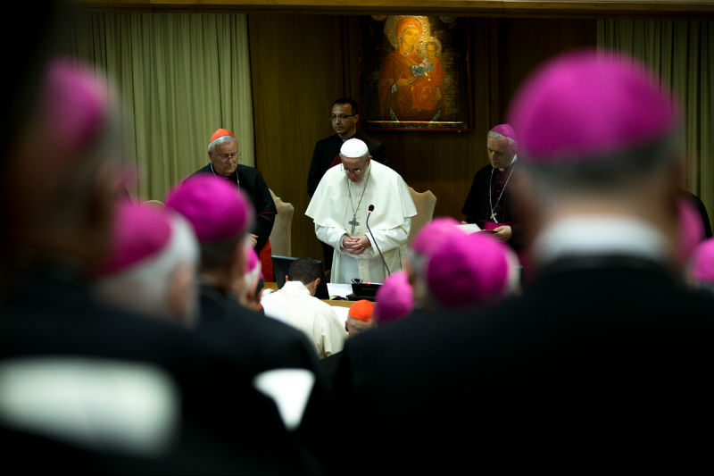 Pope Francis speaks to cardinals and bishops of the Episcopal Conference of Italy in Vatican City on 21 May 2018 (CNA)