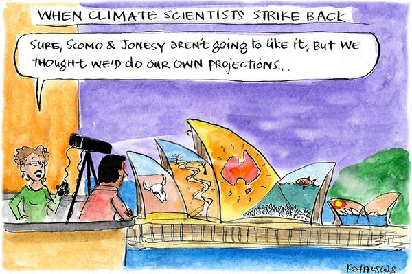 Reminders of climate change are projected on the Sydney Opera House. Cartoon by Fiona Katauskas